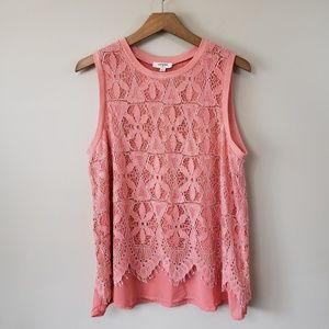 NWOT Umgee Pink Lace Overlay Tank Blouse